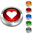Love 3d button vector image vector image