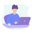 man with laptop and coffe concept design vector image vector image