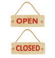open and closed wooden sign vector image