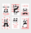 panda cards cute chinese bears happy panda vector image