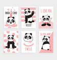 panda cards cute chinese bears happy vector image vector image