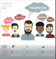 people with speech bubbles teamwork banner and vector image