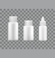 pill bottles set spray container isolated 3d icons vector image vector image