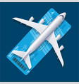 realistic 3d detailed airplane over ticket travel vector image vector image