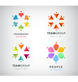 set human people circle group logos vector image vector image