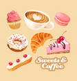 set of coffee and different sweets vector image