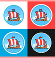 set of round emblems with drakkars vector image vector image