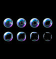 set realistic transparent colorful soap vector image