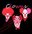 set silhouettes clown masks vector image vector image