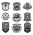 set vintage tailor shop emblems design vector image