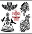 set wild west american indian designed elements vector image vector image