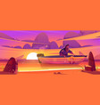 shipwrecked sad man sit in wooden boat at sunset vector image vector image