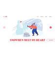 snowballs battle website landing page woman vector image vector image