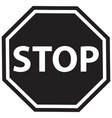 stop black sign vector image vector image