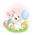 white easter bunny looking at easter egg vector image