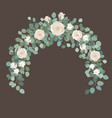 white rose flowers and silver dollar eucalyptus vector image vector image