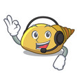 with headphone mollusk shell mascot cartoon vector image