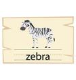 wordcard template for word zebra vector image