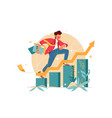young man hurry up consisting finance graph vector image