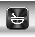 Mortar and pestle with blue tablets icon vector image