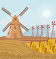 Landscape with windmill vector image