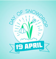 19 April Day of Snowdrop vector image