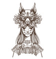 a woman with a mask of a wolf beautiful girl in a vector image vector image