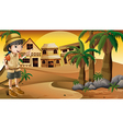 A young girl at the desert standing near the palm vector image vector image