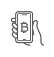 bitcoin online symbol on the smartphone in hand vector image