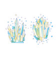 blue and yellow crystal cartoon cute vector image vector image