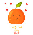 bright poster with cute sweet peach vector image