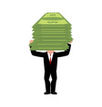 businessman is carrying money boss and cash vector image