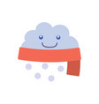 cartoon character weather forecast sign snow cloud vector image vector image