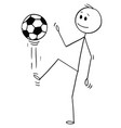 cartoon of football or soccer player juggling or vector image vector image