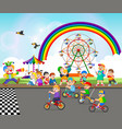 children are playing near carnival vector image vector image