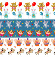 cute birthday seamless borders with cartoon vector image