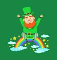 cute cartoon dwarf leprechaun sitting on a rainbow vector image vector image