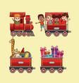 cute kids in train cartoon vector image