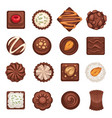 dessert or chocolate candies isolated icons vector image