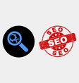 explore gears icon and scratched seo stamp vector image vector image