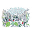 freehand sketch of interior of greenhouse full of vector image