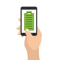 full charge of smartphone battery green vector image