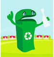 funny recycling bin holds a glass bottle vector image vector image