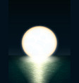 giant yellow full moon over the sea at sunset or vector image