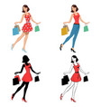 girl with bag shopping vector image vector image