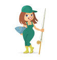 girl with fishing rod vector image vector image