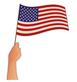 hand holding usa flag isolated on white vector image