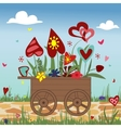 Hand truck with hearts on sky background vector image vector image