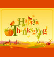Happy thanksgiving autumn logo with seasonal icons vector image