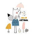 hello autumn cartoon with hand vector image